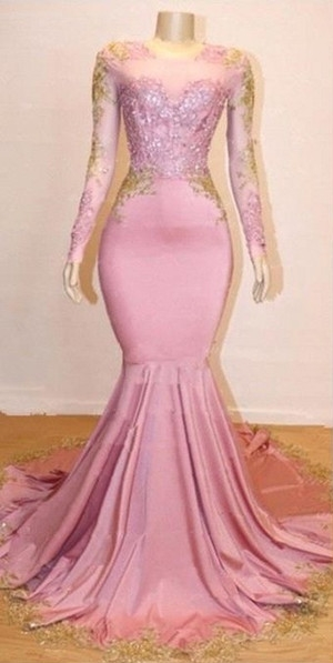 Pink Appliques Long Sleeves Prom Dresses | 2021 Gorgeous Mermaid Evening Gowns_1
