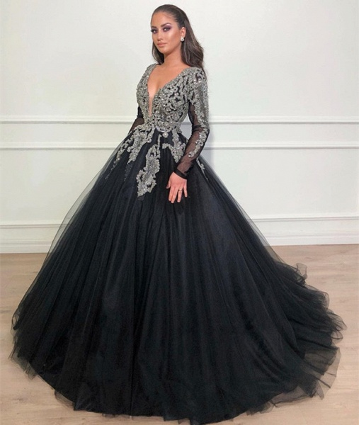 Beautiful V-neck Appliques Ball Gown Prom Dress_3