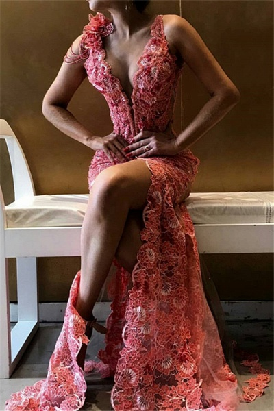 Glorious Spaghetti Straps Flower(s) Mermaid Prom Dress_1