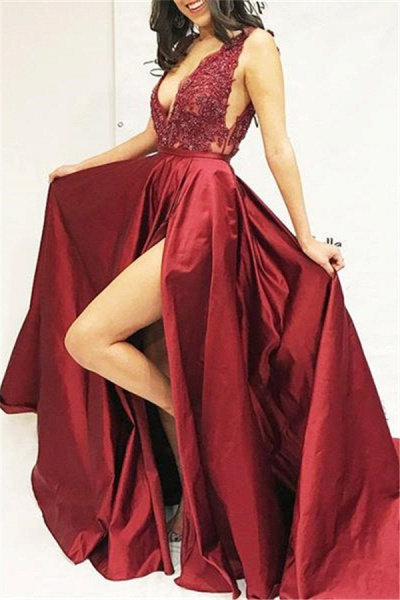 Elegant V-neck Split Front A-line Prom Dress_1