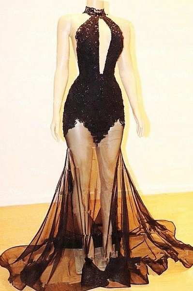 Sexy Halter Lace See Through Floor Length Mermaid Prom Dresses_1
