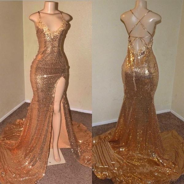 Sequins Sleeveless Front Slit Floor Length Mermaid Dresses_3