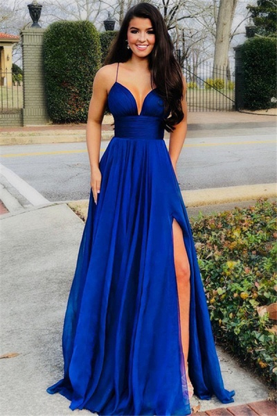 Affordable Spaghetti Straps Split Front A-line Prom Dress_1