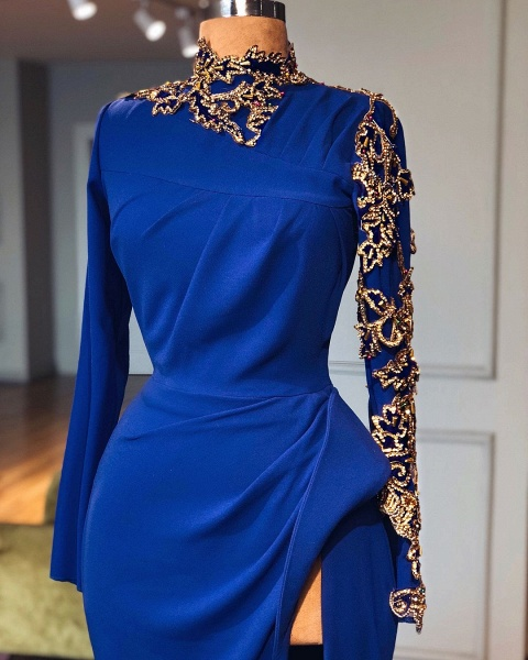 Royal Blue High Neck Side Slit Mermaid Prom Dresses | Elegant Long Sleeves Appliques Evening Gowns_2