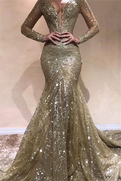 Fascinating V-neck Sequined Mermaid Prom Dress_1