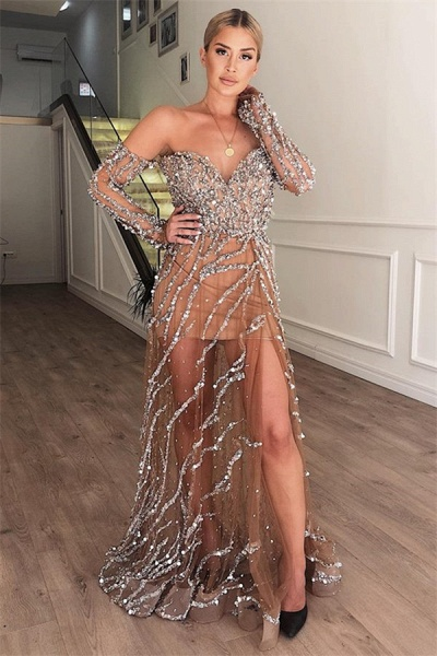Fascinating Sweetheart Crystal A-line Prom Dress_1