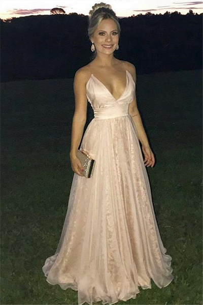 Best Spaghetti Straps Tiered A-line Prom Dress_1