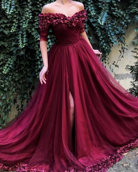 Glorious Off-the-shoulder Appliques A-line Prom Dress_2