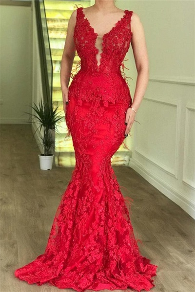Elegant Spaghetti Straps Lace Mermaid Prom Dress_2