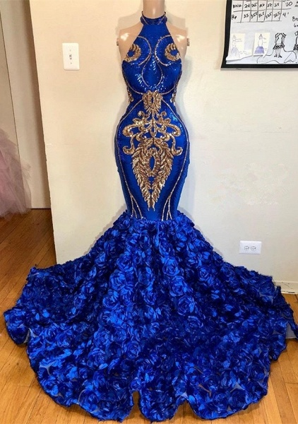 2021 Royal Blue Halter Mermaid Prom Dresses   Gorgeous Sleeveless Flowers Long Evening Gowns_2