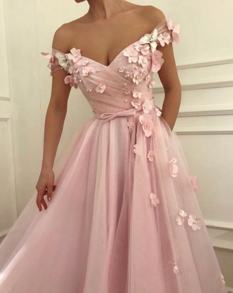 Fascinating Off-the-shoulder Flower(s) A-line Prom Dress_3
