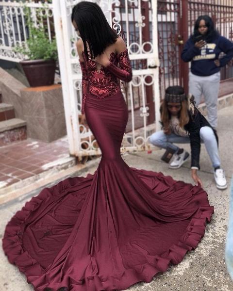 Attractive Sweetheart Satin Mermaid Prom Dress_5
