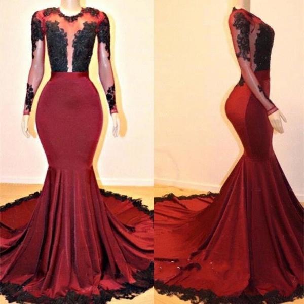Long Sleeves Mermaid Appliques Sheer Prom Dresses_4