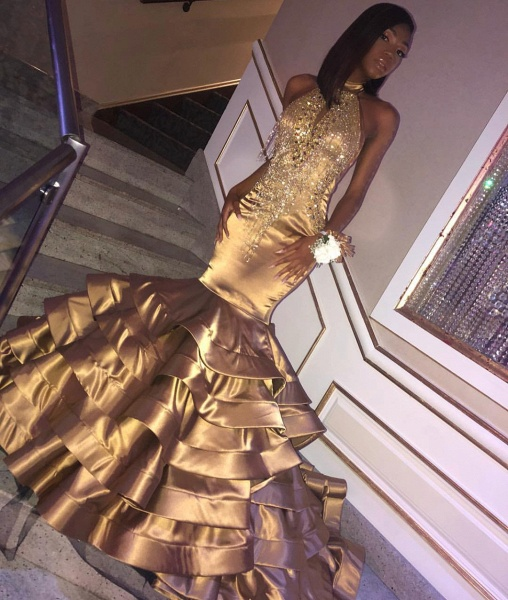 Beautiful Halter Appliques Mermaid Prom Dress_2