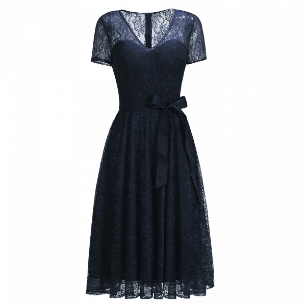 Short Sleeves V-neck Lace Dresses with Bow Sash_4