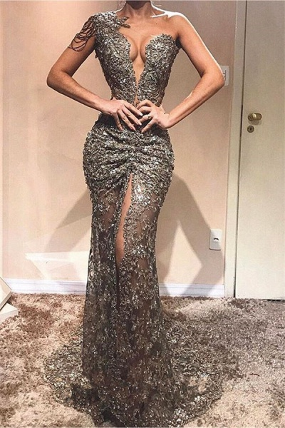 Precious One Shoulder Lace Column Prom Dress_1