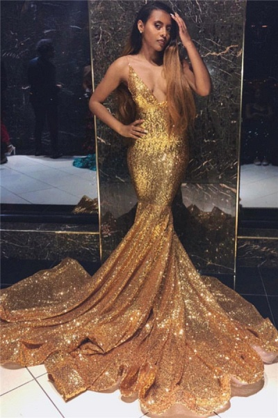 Fascinating Spaghetti Straps Sequined Mermaid Prom Dress_1