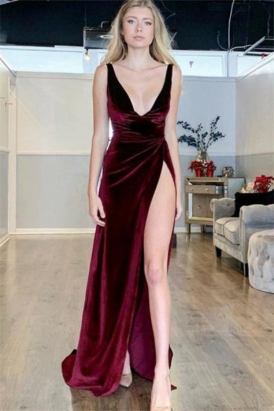Eye-catching V-neck Split Front A-line Prom Dress_1