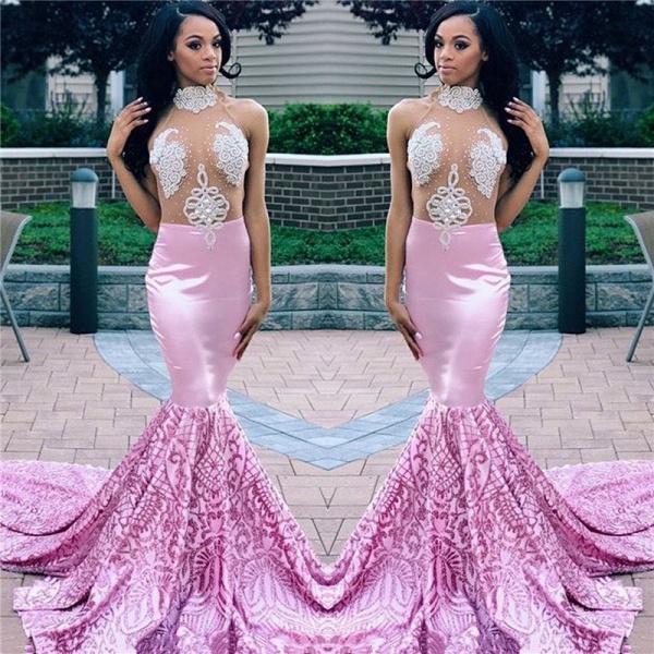 Eye-catching High Neck Appliques Mermaid Prom Dress_3