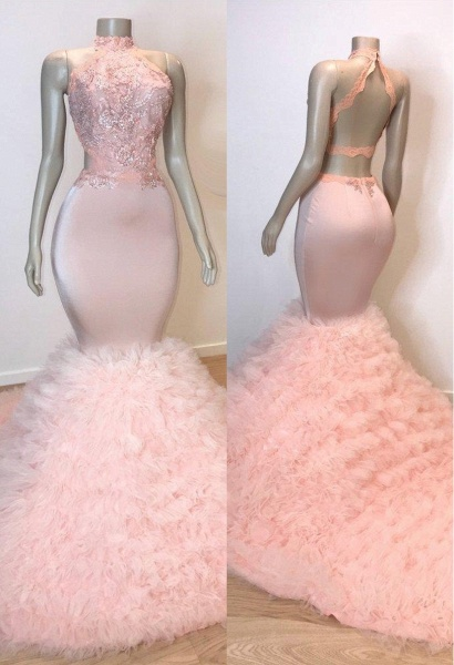 Pink Halter Sleeveless Mermaid Prom Dresses | 2021 Chic Open Back Lace Tulle Evening Gowns_1