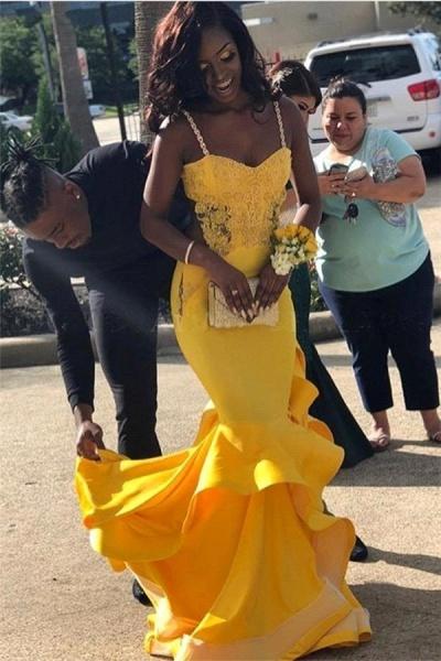 Exquisite Spaghetti Straps Ruffles Mermaid Prom Dress_2