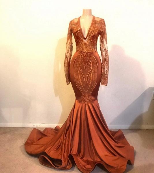 Glorious V-neck Appliques Mermaid Prom Dress_2