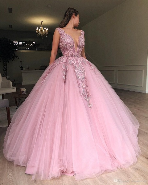 Modest Straps Appliques Ball Gown Prom Dress_3