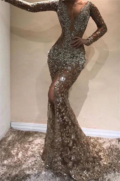 Eye-catching V-neck Appliques Mermaid Prom Dress_1