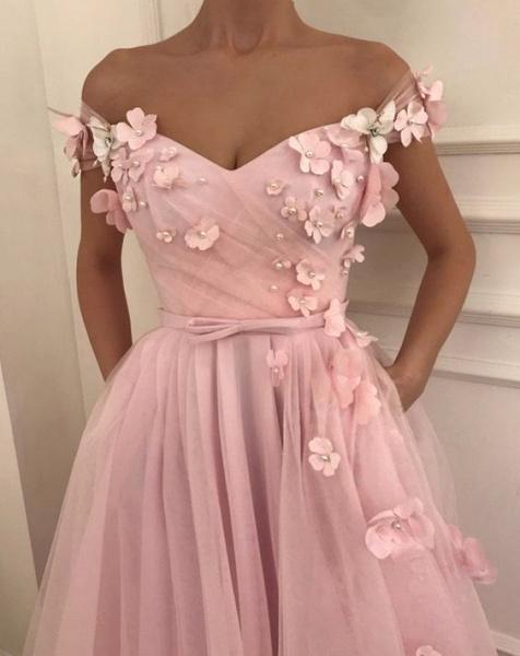Fascinating Off-the-shoulder Flower(s) A-line Prom Dress_2