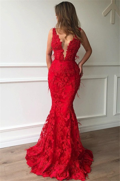 Elegant Spaghetti Straps Lace Mermaid Prom Dress_1