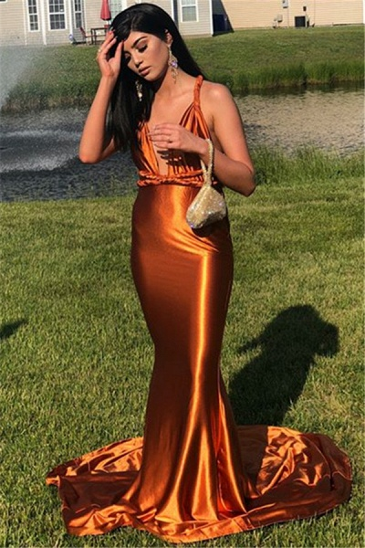 Beautiful Spaghetti Straps Ribbons Mermaid Prom Dress_3