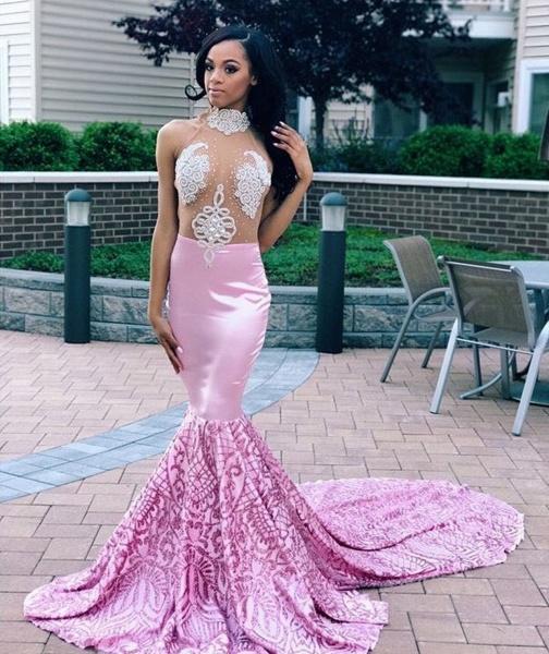 Eye-catching High Neck Appliques Mermaid Prom Dress_2