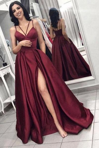 Attractive Spaghetti Straps Split Front A-line Evening Dress_1