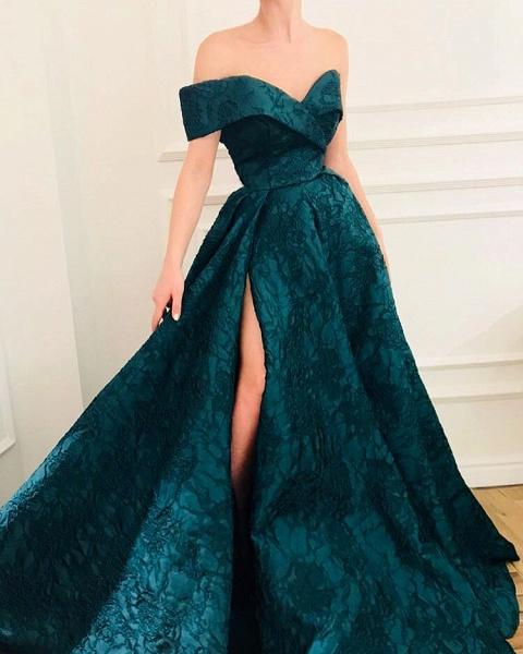 Sleek Off-the-shoulder Appliques A-line Prom Dress_2