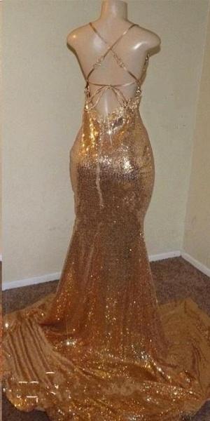 Sequins Sleeveless Front Slit Floor Length Mermaid Dresses_5
