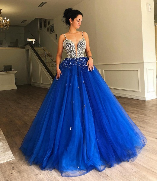 Glorious Spaghetti Straps Beading Ball Gown Prom Dress_2