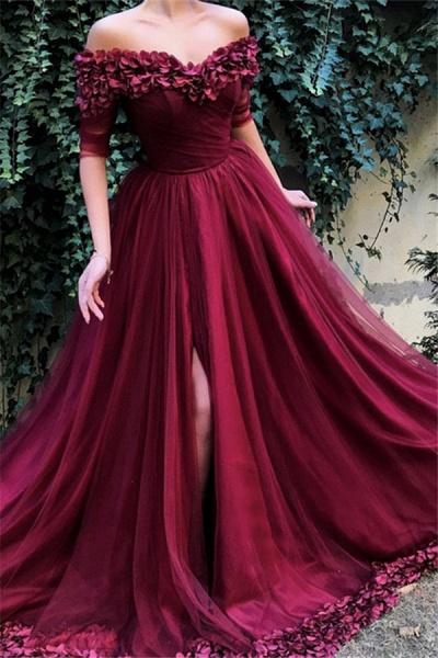 Glorious Off-the-shoulder Appliques A-line Prom Dress_1