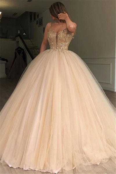 Latest Spaghetti Straps Beading Ball Gown Prom Dress_1