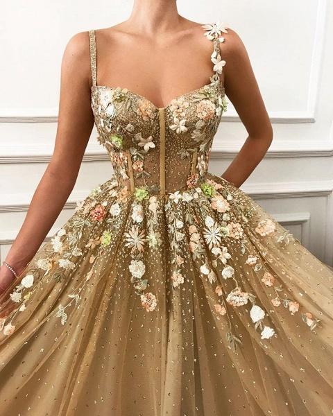 Chic Spaghetti Straps Appliques A-line Prom Dress_2