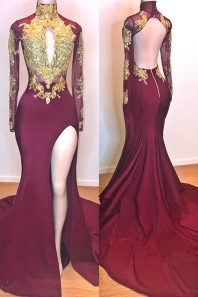 Burgundy Gold Appliques Evening Gowns | Long Sleeves Side Slit Open Back Mermaid Prom Dresses_1