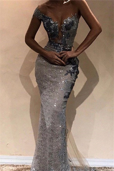 Glorious One Shoulder Sequined Column Prom Dress_1
