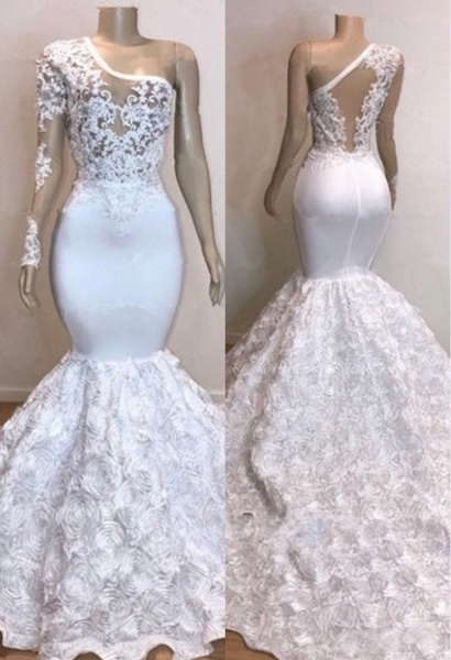One Shoulder Lace Appliques Meramid Prom Dresses with sleeve_1