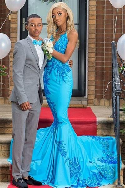 Fascinating Halter Appliques Mermaid Prom Dress_1