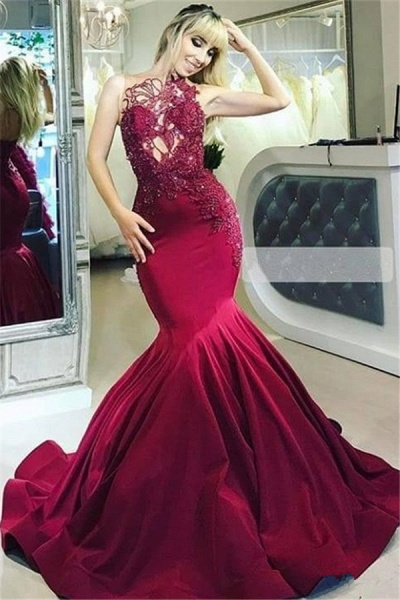 Excellent High Neck Sequined Mermaid Prom Dress_1
