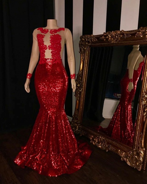 2021 Long Sleeves Sequins Mermaid Prom Gowns | Glamorous Sheer Tulle Red Long Evening Dress_2