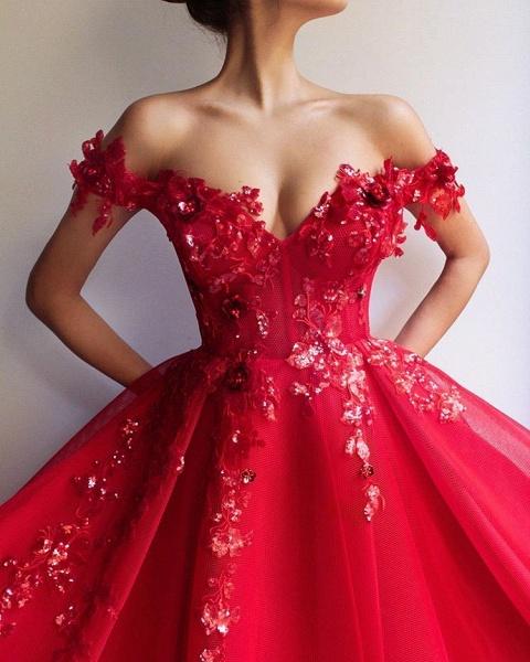 Excellent Off-the-shoulder Appliques A-line Prom Dress_3