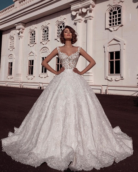 Elegant Ball Gown Spaghetti Straps Sleeveless Lace Applique Wedding Dresses_2