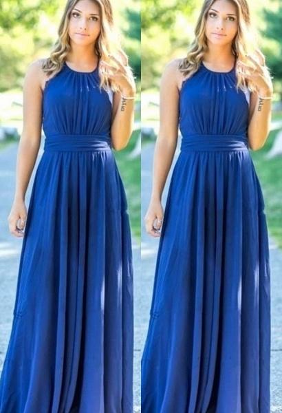 Ocean Blue Halter Chiffon Cheap Bridesmaid Dresses | A-line Open Back Floor-length Bridesmaid Dresses_1