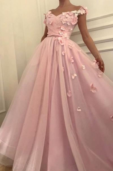Fascinating Off-the-shoulder Flower(s) A-line Prom Dress_1