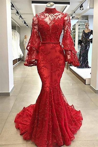 Excellent High Neck Appliques Mermaid Prom Dress_1